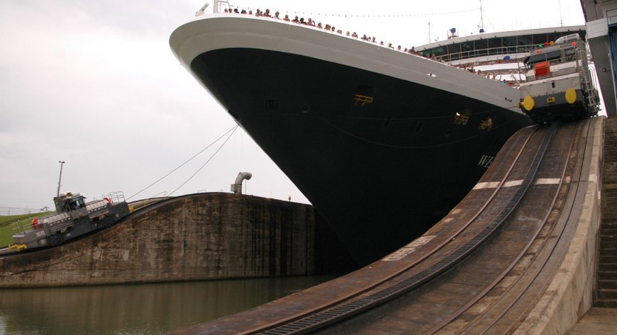 A Cruise Ship in Panama Canal