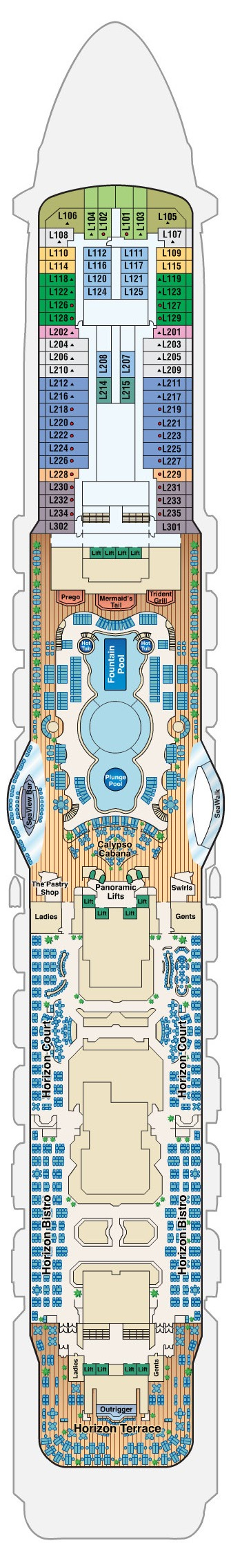 Regal Princess Deck 16 - Lido layout