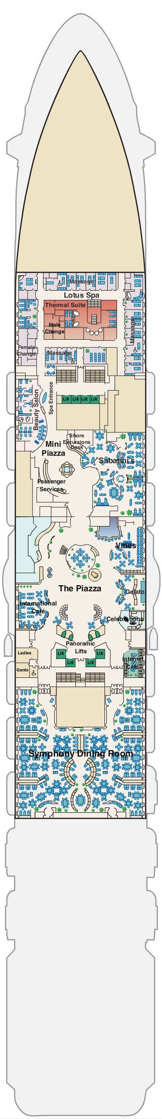 Regal Princess Deck 5 - Plaza layout
