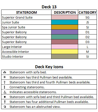 Quantum Of The Seas Deck 13 plan keys