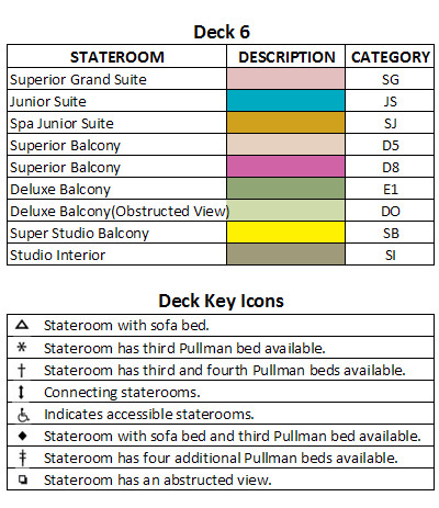 Quantum Of The Seas Deck 6 plan keys