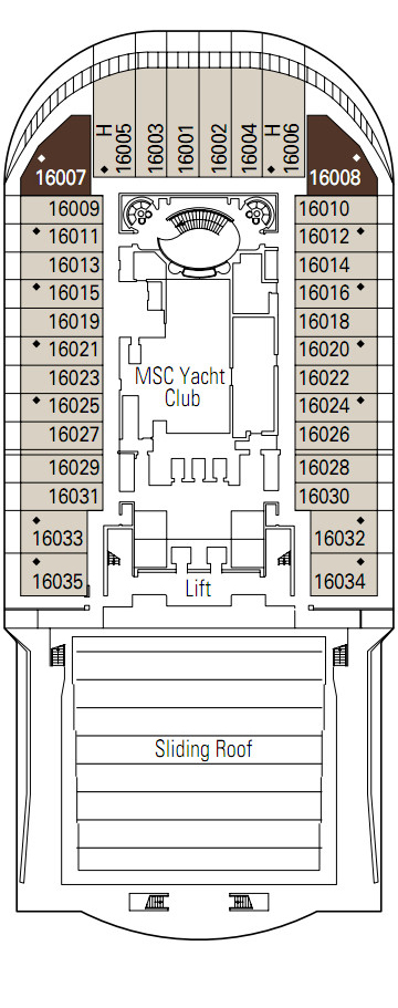 MSC Preziosa Urano Deck 16 layout
