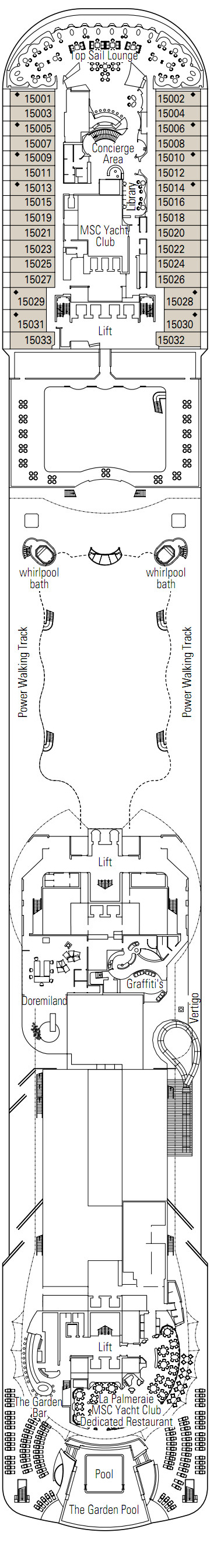 MSC Preziosa Mercurio Deck 15 layout