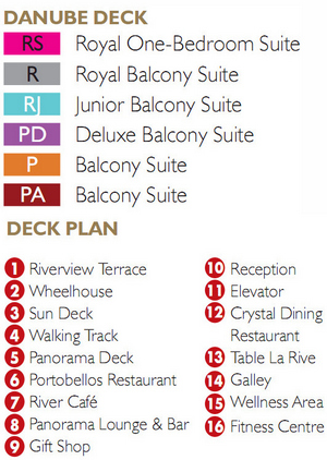 Scenic Gem Danube Deck plan keys