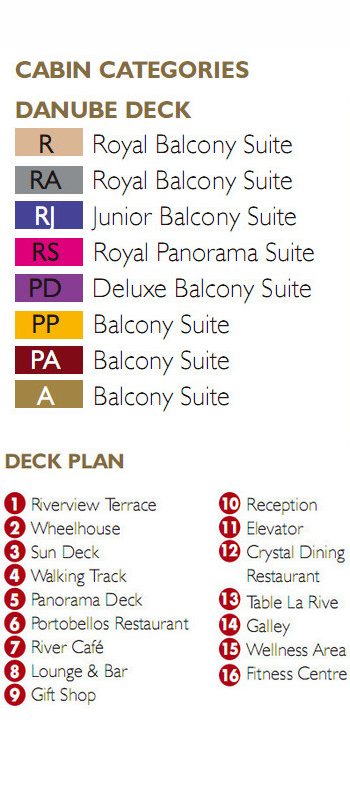 Scenic Jewel Danube Deck plan keys
