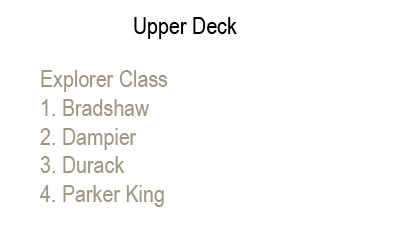 True North Upper Deck plan keys