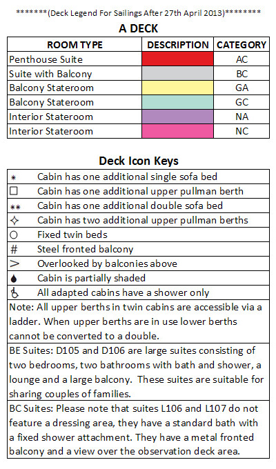 Azura A Deck plan keys
