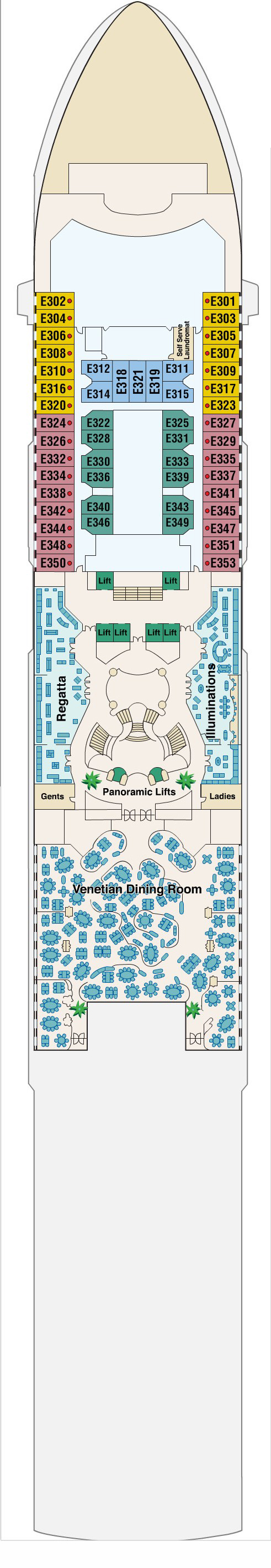 Dawn Princess Emerald Deck 6 layout