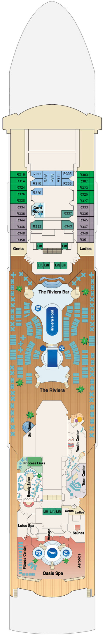 Dawn Princess Riviera Deck 12 layout