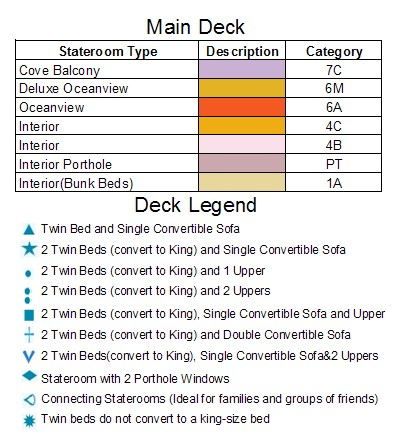 Carnival Vista Deck 2-Main   plan keys