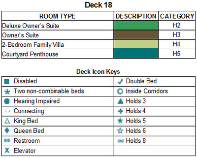 Norwegian Bliss Deck 18 plan keys