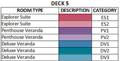 Viking Sea Deck 5 plan keys