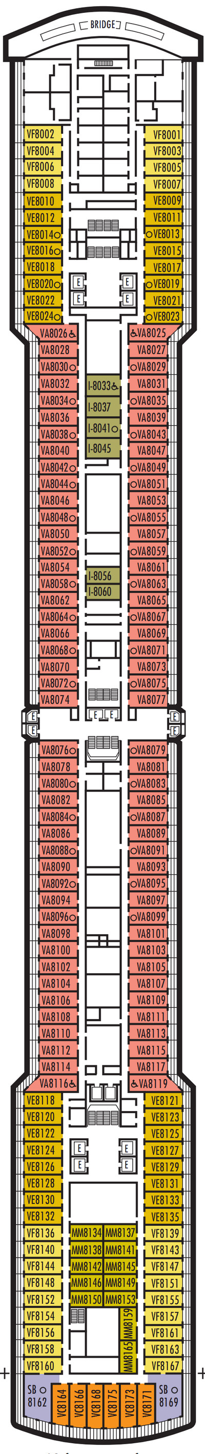 Nieuw Statendam Deck 8 - Navigation Deck layout