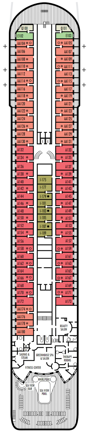 Prinsendam Deck 9 - Upper Promenade layout