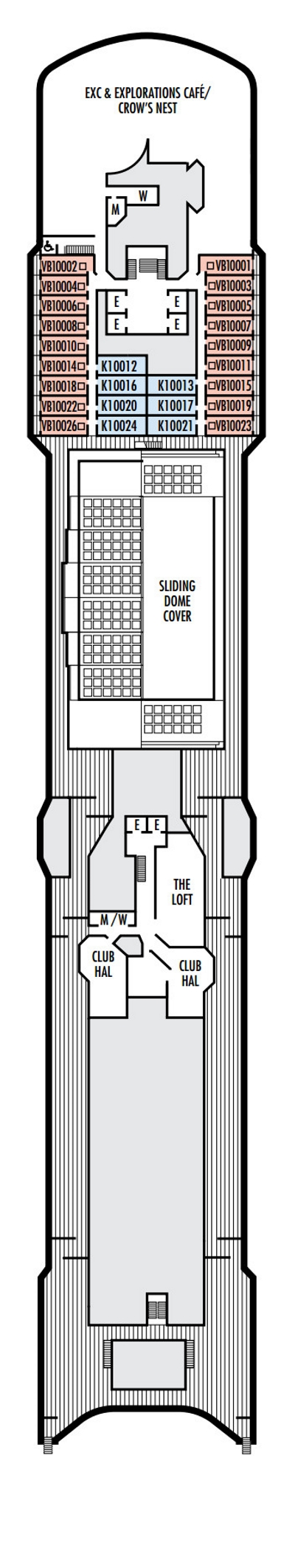 Zuiderdam Deck 10 - Observation Deck   layout