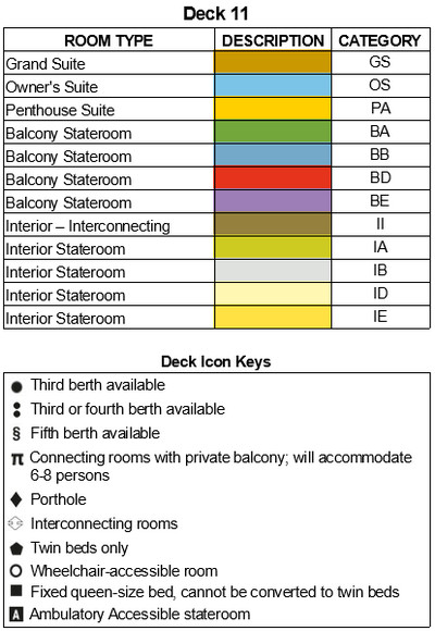 P&O - Pacific Adventure Deck 11 plan keys
