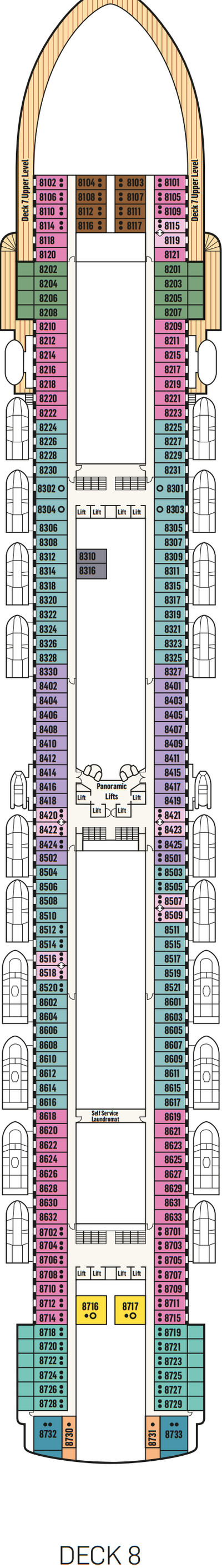 P&O - Pacific Adventure Deck 8 layout