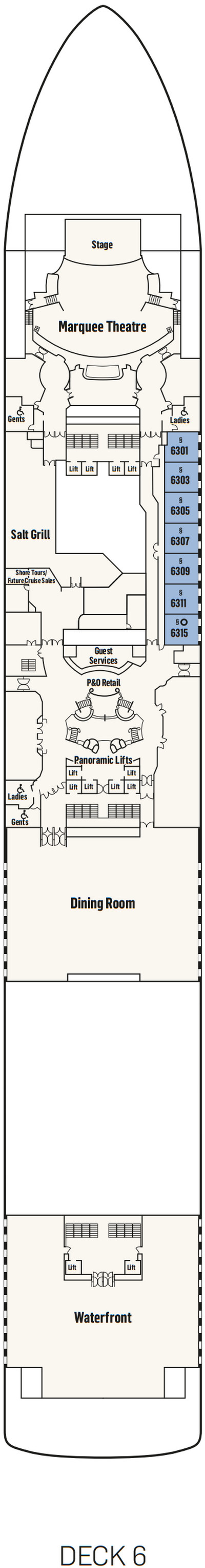 P&O - Pacific Adventure Deck 6 layout