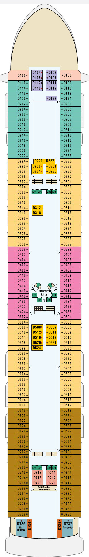 Golden Princess Dolphin Deck 9 layout