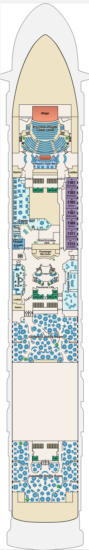 Golden Princess Fiesta Deck 6 layout