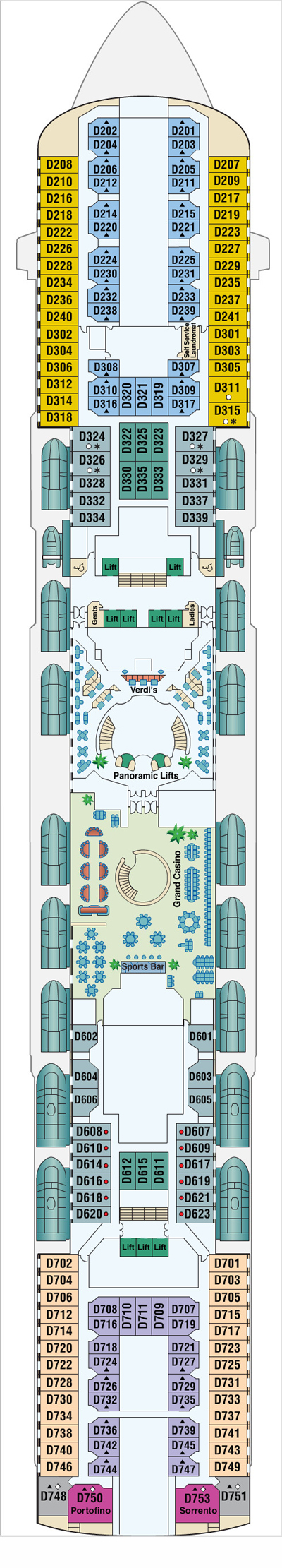 Sun Princess Dolphin Deck 8 layout