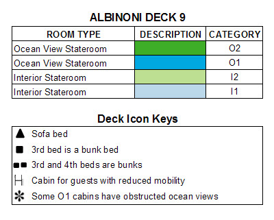 MSC Lirica Albinoni Deck  9 plan keys