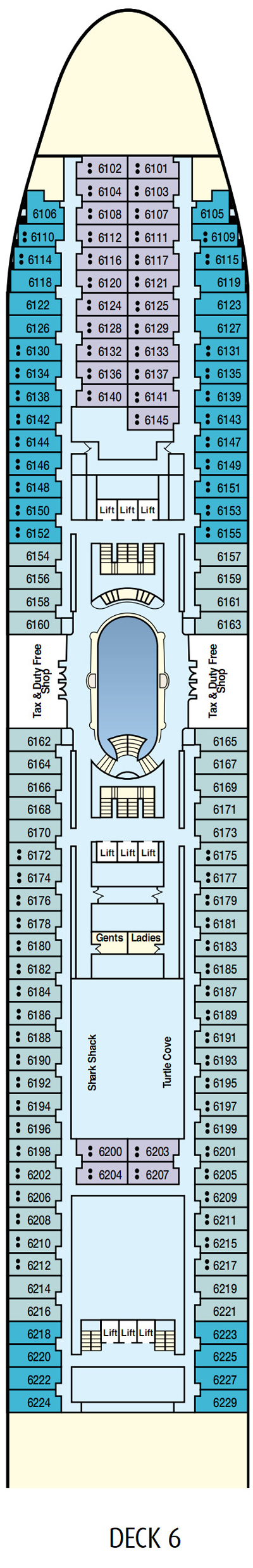 P&O - Pacific Dawn Emerald Deck 6 layout