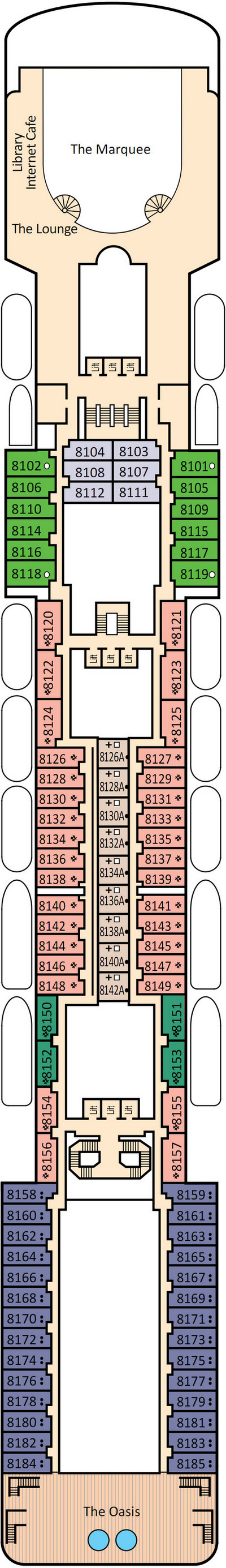 P&O - Pacific Pearl Deck 8 layout