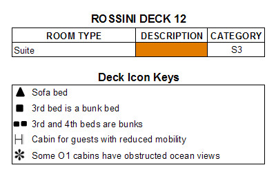 MSC Lirica Rossini Deck 12 plan keys