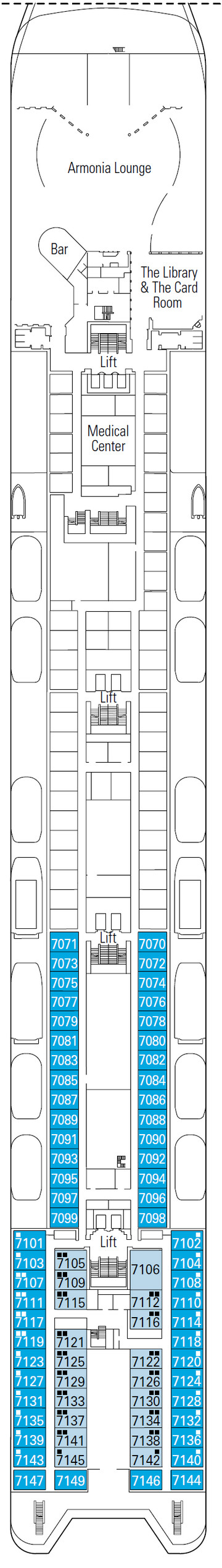 MSC Armonia Topazio Deck 7 layout