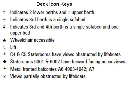 Queen Elizabeth Deck 11 plan keys
