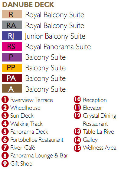 Scenic Ruby Danube Deck plan keys