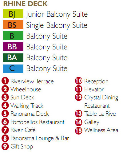 Scenic Ruby Rhine Deck plan keys