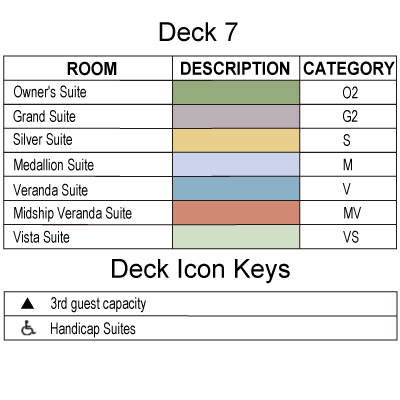 Silver Wind Deck 7 plan keys