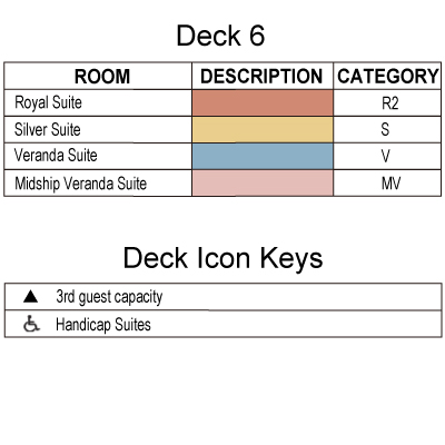 Silver Wind Deck 6 plan keys