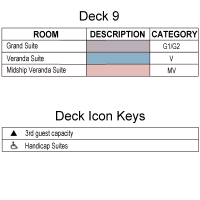 Silver Spirit Deck 9 plan keys