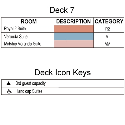 Silver Spirit Deck 7 plan keys