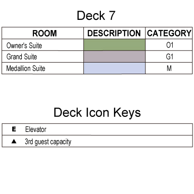Silver Explorer Deck 7 plan keys
