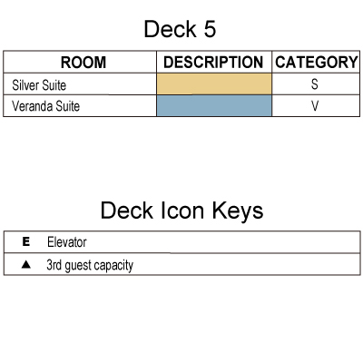 Silver Explorer Deck 5 plan keys