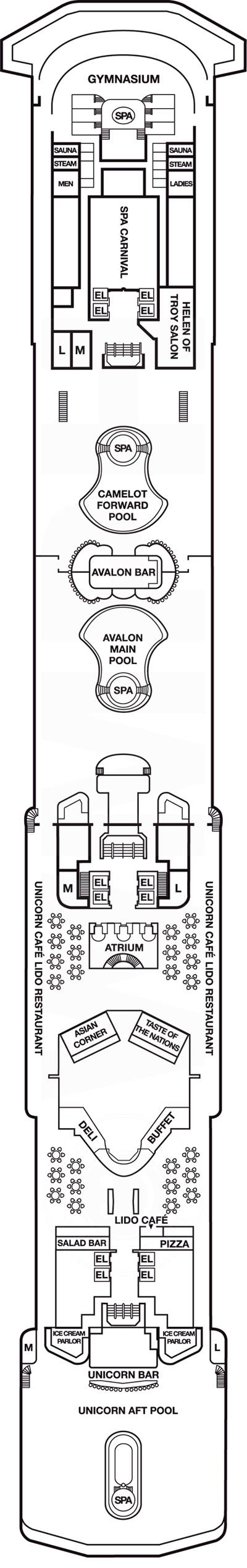 Carnival Legend Lido Deck 9 layout