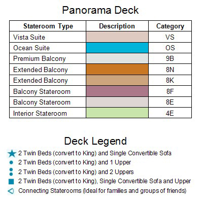 Carnival Legend Panorama Deck 8 plan keys