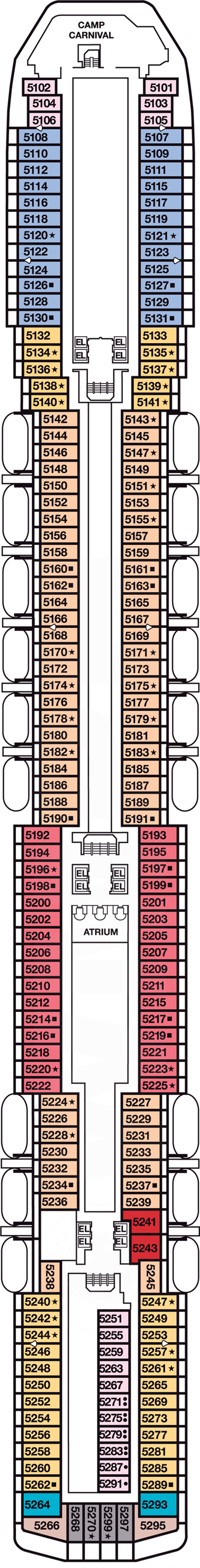 Carnival Legend Upper Deck 5 layout