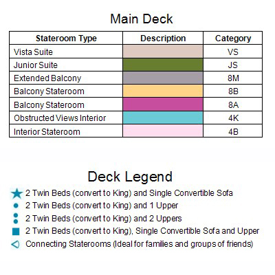 Carnival Legend Main Deck 4 plan keys