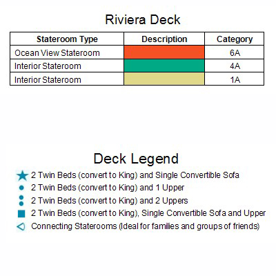 Carnival Legend Riviera Deck 1 plan keys
