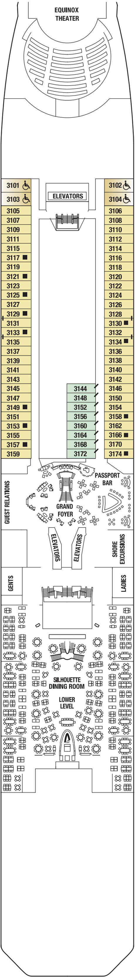 Celebrity Equinox Plaza Deck  layout