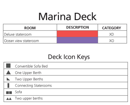 Celebrity Xpedition Marina Deck plan keys