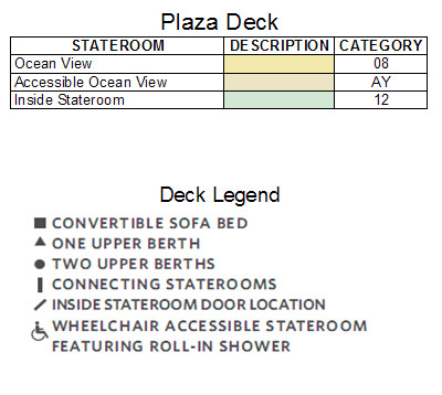 Celebrity Silhouette Plaza Deck plan keys