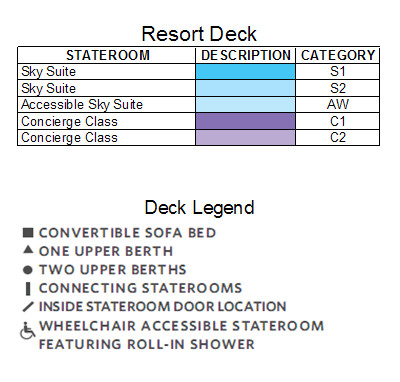 Celebrity Silhouette Resort Deck plan keys