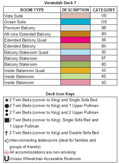 Carnival Legend Verandah Deck 7 plan keys