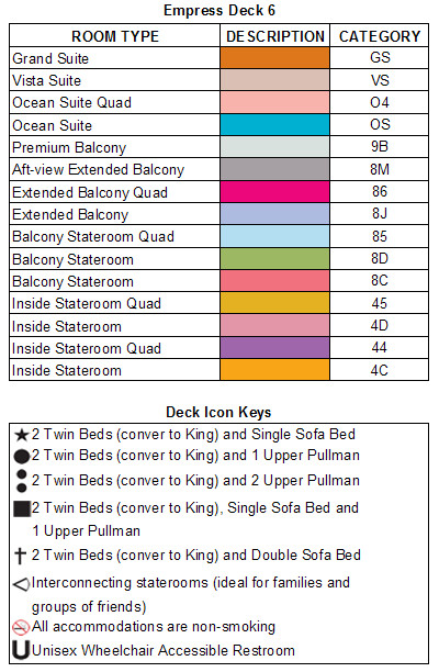 Carnival Legend Empress Deck 6 plan keys